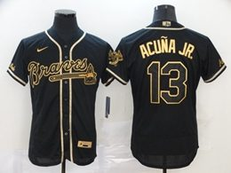 Mens Mlb Atlanta Braves #13 Acuna Jr Black Throwbacks Golden Flex Base Nike Jersey