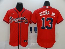 Mens Mlb Atlanta Braves #13 Acuna Jr Red Flex Base Nike Jersey