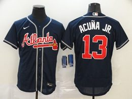 Mens Mlb Atlanta Braves #13 Acuna Jr Navy Blue Flex Base Nike Jersey