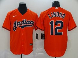 Mens Mlb Cleveland Indians #12 Francisco Lindor Orange Cool Base Nike Jersey