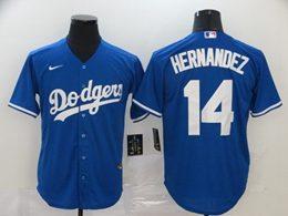 Mens Mlb Los Angeles Dodgers #14 Enrique Hernandez Blue Cool Base Nike Jersey