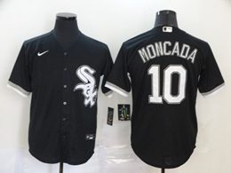 Mens Mlb Chicago White Sox #10 Yoan Moncada Black Cool Base Nike Jersey