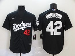 Mens Mlb Los Angeles Dodgers #42 Ackie Robinson Black Cool Base Nike Jersey