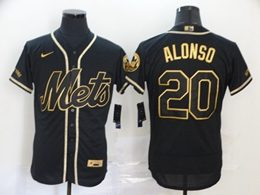Mens Mlb New York Mets #20 Pete Alonso Black Throwbacks Golden Flex Base Nike Jersey