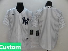 Mens Womens Youth Mlb New York Yankees Custom Made White Cool Base Nike Jersey