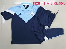 Mens 20-21 Soccer Manchester City Club Blue Polo Shirt And Navy Sweat Pants Training Suit
