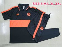 Mens 20-21 Soccer Chelsea Club Orange Polo Shirt And Black Sweat Pants Training Suit