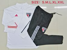 Mens 20-21 Soccer Sao Paulo White Training And Black Sweat Pants Training Suit ( Half Zipper )