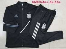 Mens 20-21 Soccer Argentina National Team Black Jacket And Black Sweat Pants Training Suit ( Long Zipper )
