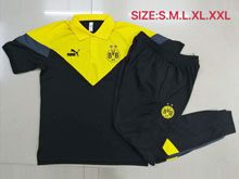 Mens 20-21 Soccer Borussia Dortmund Club Yellow Black Polo Shirt And Black Sweat Pants Training Suit