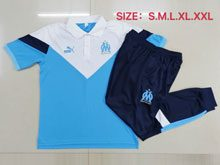 Mens 20-21 Soccer Olympique De Marseille Club Blue Polo Shirt Navy Sweat Pants Training Suit