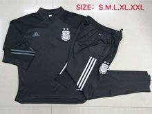 Mens 20-21 Soccer Argentina National Team Black Training And Black Sweat Pants Training Suit ( Half Zipper )