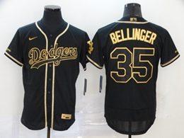 Mens Mlb Los Angeles Dodgers #35 Cody Bellinger Black Throwbacks Golden Flex Base Nike Jersey