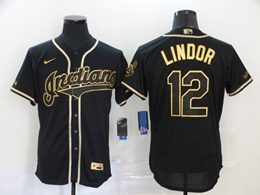 Mens Mlb Cleveland Indians #12 Francisco Lindor Black Throwbacks Golden Flex Base Nike Jersey