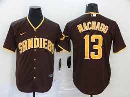 Mens Mlb San Diego Padres #13 Manny Machado Brown Cool Base Nike Jersey