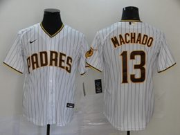 Mens Mlb San Diego Padres #13 Manny Machado White Stripe Cool Base Nike Jersey