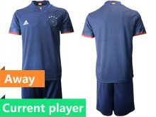Mens Soccer Germany Ntaional Team Current Player Blue 2020 European Cup Away Short Sleeve Suit Jersey