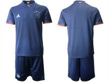 Mens Soccer Germany Ntaional Team ( Custom Made ) Blue 2020 European Cup Away Short Sleeve Suit Jersey