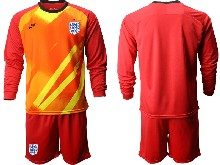 Mens Soccer England National Team ( Custom Made ) Red 2020 European Cup Goalkeeper Long Sleeve Suit Jersey