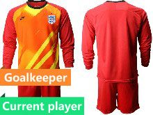 Mens Soccer England National Team Current Player Red 2020 European Cup Goalkeeper Long Sleeve Suit Jersey