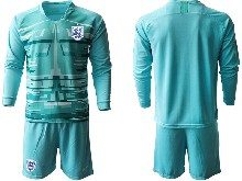 Mens Soccer England National Team ( Custom Made ) Blue 2020 European Cup Goalkeeper Long Sleeve Suit Jersey