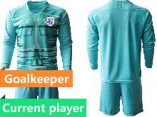 Mens Soccer England National Team Current Player Blue 2020 European Cup Goalkeeper Long Sleeve Suit Jersey