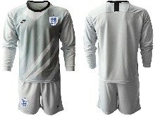 Mens Soccer England National Team ( Custom Made ) Gray 2020 European Cup Goalkeeper Long Sleeve Suit Jersey
