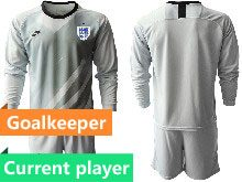 Mens Soccer England National Team Current Player Gray 2020 European Cup Goalkeeper Long Sleeve Suit Jersey