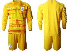 Mens Soccer England National Team ( Custom Made ) Yellow 2020 European Cup Goalkeeper Long Sleeve Suit Jersey