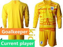 Kids Soccer England National Team Current Player Yellow 2020 European Cup Goalkeeper Long Sleeve Suit Jersey