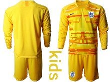 Kids Soccer England National Team ( Custom Made ) Yellow 2020 European Cup Goalkeeper Long Sleeve Suit Jersey