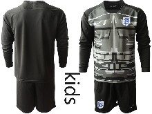 Kids Soccer England National Team ( Custom Made ) Black 2020 European Cup Goalkeeper Long Sleeve Suit Jersey