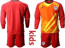 Kids Soccer England National Team ( Custom Made ) Red 2020 European Cup Goalkeeper Long Sleeve Suit Jersey