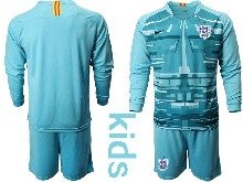 Kids Soccer England National Team ( Custom Made ) Blue 2020 European Cup Goalkeeper Long Sleeve Suit Jersey