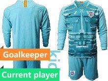 Kids Soccer England National Team Current Player Blue 2020 European Cup Goalkeeper Long Sleeve Suit Jersey