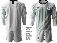 Kids Soccer England National Team ( Custom Made ) Gray 2020 European Cup Goalkeeper Long Sleeve Suit Jersey