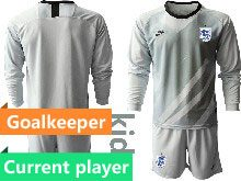 Kids Soccer England National Team Current Player Gray 2020 European Cup Goalkeeper Long Sleeve Suit Jersey