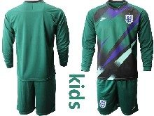 Kids Soccer England National Team ( Custom Made ) Dark Green 2020 European Cup Goalkeeper Long Sleeve Suit Jersey