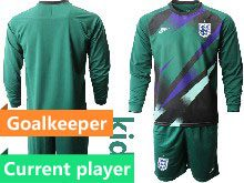 Kids Soccer England National Team Current Player Dark Green 2020 European Cup Goalkeeper Long Sleeve Suit Jersey