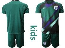 Kids Soccer England National Team ( Custom Made ) Dark Green 2020 European Cup Goalkeeper Short Sleeve Suit Jersey