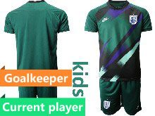 Kids Soccer England National Team Current Player Dark Green 2020 European Cup Goalkeeper Short Sleeve Suit Jersey