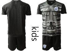 Kids Soccer England National Team ( Custom Made ) Black 2020 European Cup Goalkeeper Short Sleeve Suit Jersey