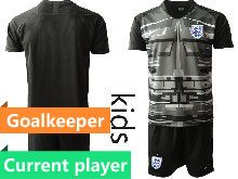 Kids Soccer England National Team Current Player Black 2020 European Cup Goalkeeper Short Sleeve Suit Jersey