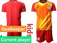 Kids Soccer England National Team Current Player Red 2020 European Cup Goalkeeper Short Sleeve Suit Jersey