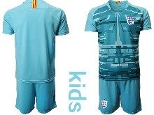 Kids Soccer England National Team ( Custom Made ) Blue 2020 European Cup Goalkeeper Short Sleeve Suit Jersey