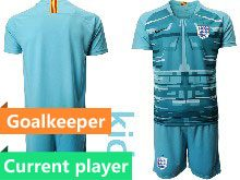 Kids Soccer England National Team Current Player Blue 2020 European Cup Goalkeeper Short Sleeve Suit Jersey