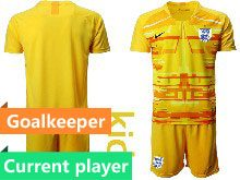 Youth Soccer England National Team Current Player Yellow 2020 European Cup Goalkeeper Short Sleeve Suit Jersey