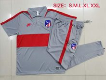 Mens 20-21 Soccer Atletico De Madrid Club Gray Polo Shirt And Gray Sweat Pants Training Suit