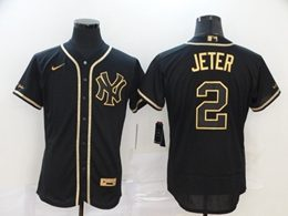 Mens Mlb New York Yankees #2 Derek Jeter Black Throwbacks Golden Flex Base Nike Jersey