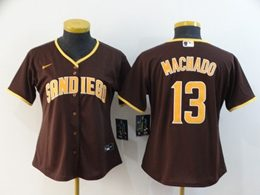 Women Mlb San Diego Padres #13 Manny Machado Brown Cool Base Nike Jersey